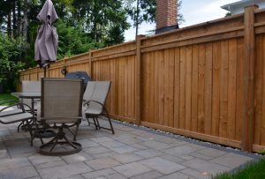 Wood Fence with Decorative Rails