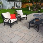 Stone Backyard Patio with Borders