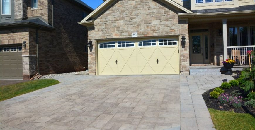 Interlocking Stone Driveway with Borders and Walkway