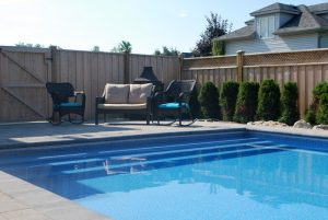 Vinyl Liner Concrete Pool with Large Steps