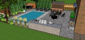 3D Landscape Design with Pool and Outdoor Kitchen